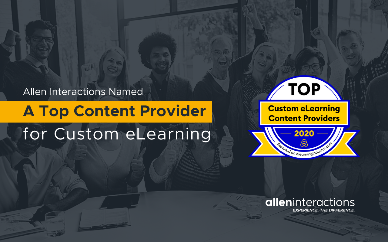 Allen Interactions Recognized by eLearning Industry as 2020 Top Custom e-Learning Provider