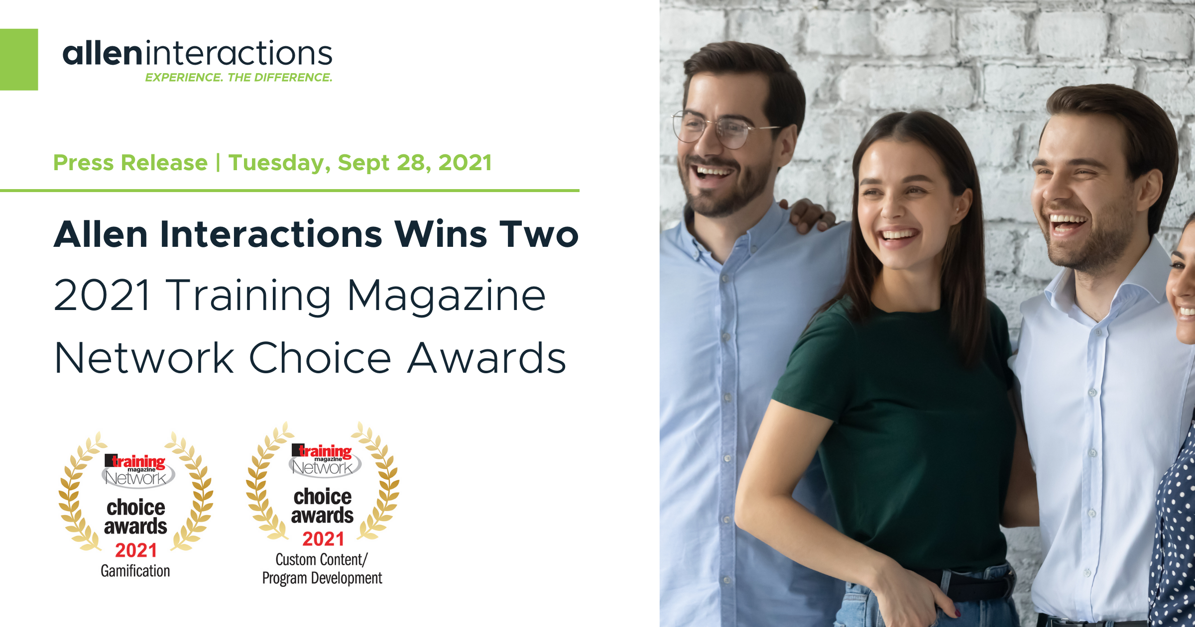 Allen Interactions Wins Two 2021 Training Magazine Network Choice Awards