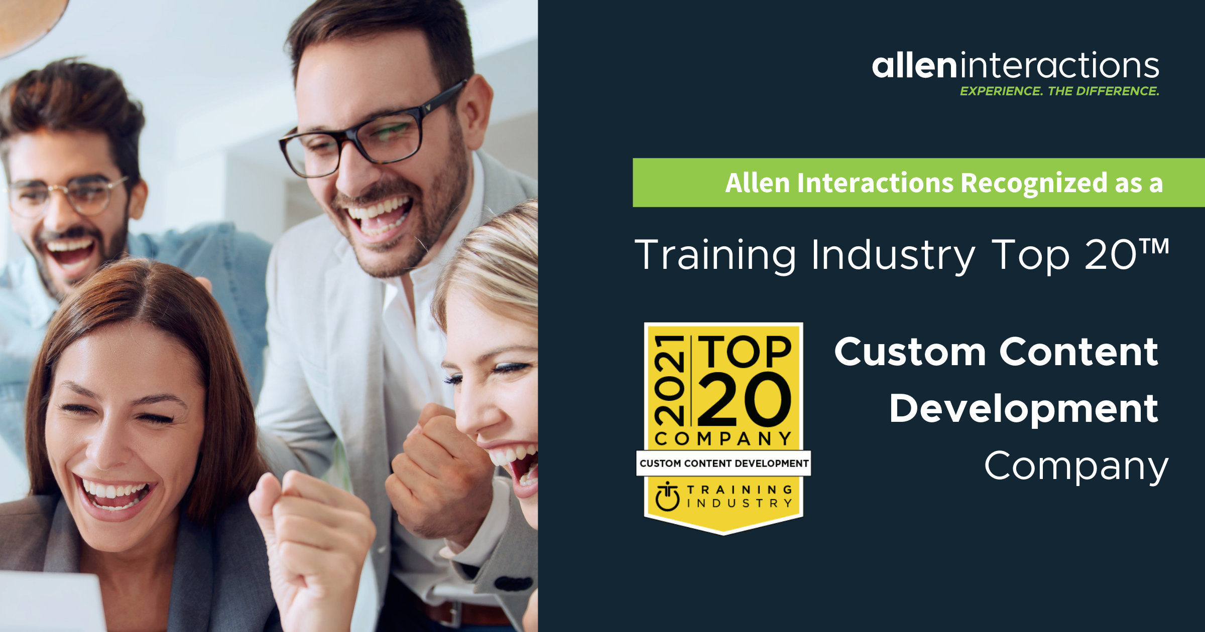 Allen Interactions Recognized by Training Industry asTop 20™ Custom Content DevelopmentCompany
