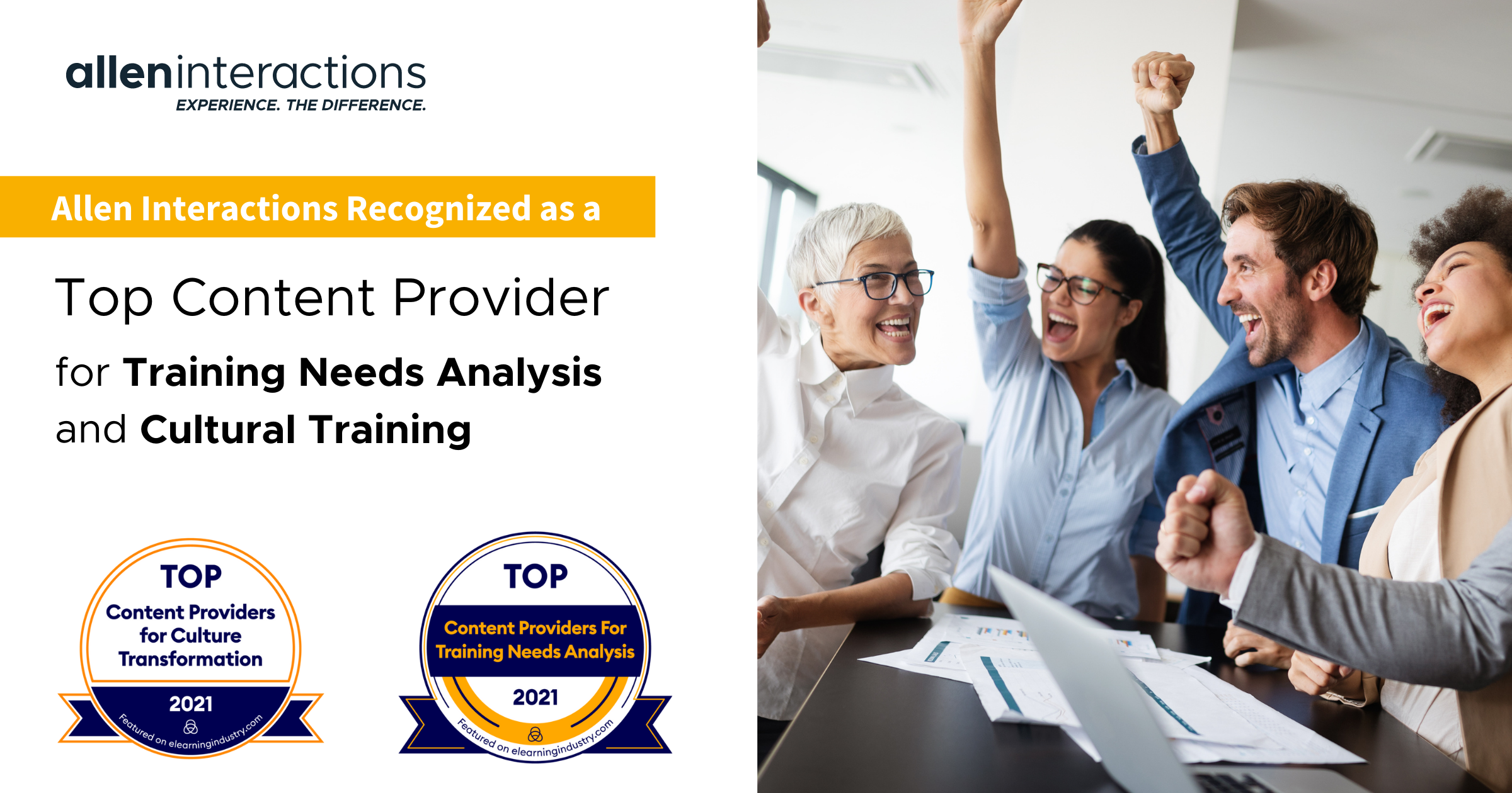 Allen Interactions Recognized by eLearning Industry as a 2021 Top Content Provider forTraining Needs Analysis and Cultural Training